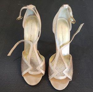 Ladies gold strap heels